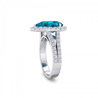 Birnenschliff Aquamarin 925 Sterling Silber Halo Verlobungsringe