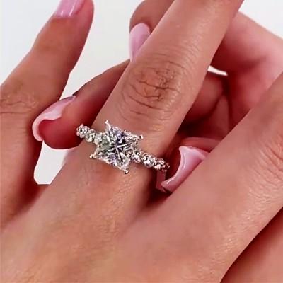 Asscher Schnitt Weißer Saphir 925 Sterling Silber Verlobungsringe