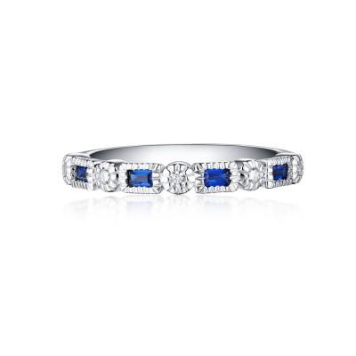 SmaragdSchliff Saphir 925 Sterling Silber Memoire Ringe