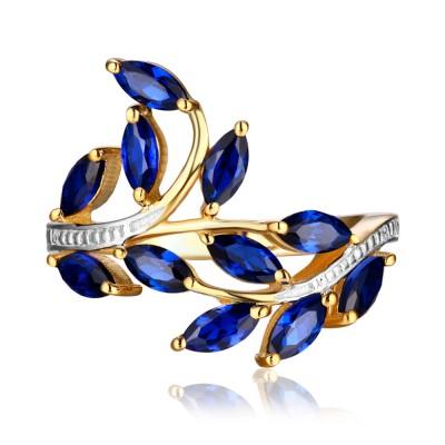 Marquise Schliff saphir Gelbgold 925 Sterling Silber Memoire Ringe