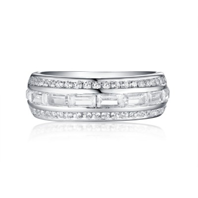 SmaragdSchliff Weißemer Saphir 925 Sterling Silber Memoire Ringe