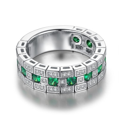 Runder Schliff Smaragd 925 Sterling Silber Damen Memoire Ringe