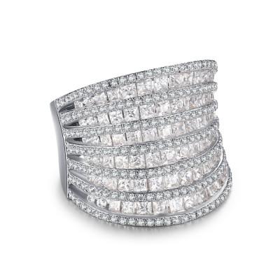 Einzigartiger runder Weißemer Saphir 925 Verlobungsring für Frauen
