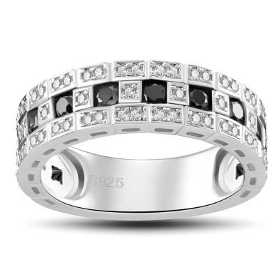 Schwarzer Saphir 925 Sterling Silber im RundSchliff Verlobungsringe