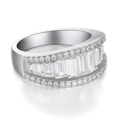 Weißemer Saphir 925 Sterling Silber Damen Memoire Ringe