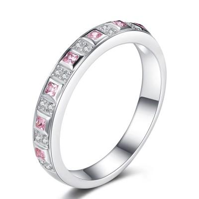 Princess Schliff Rosa saphir 925 Sterling Silber Verlobungsringe