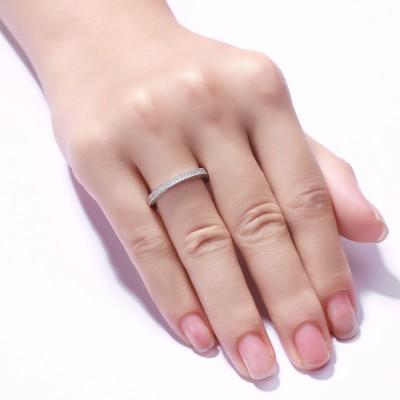 Runde Zirkonia 925 Sterling Silber Damen Memoire Ringe
