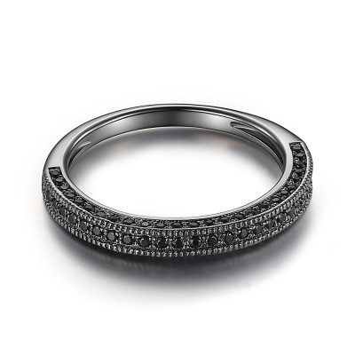 Schwarzer Rundschnitt Schwarze 925 Sterling Silber Damen Memoire Ringe