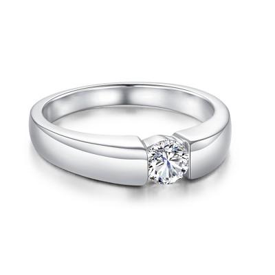 Runder Schliff Zirkonia 925 Sterling Silber Verlobungsringe