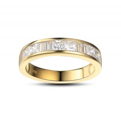 Princess Schliff Weißem Saphir Gelbgold 925 Sterling Silber Damen Memoire Ringe