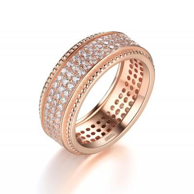 Weißemer Saphir RoséGelbgold 925 Sterling Silber Damen Memoire Ringe