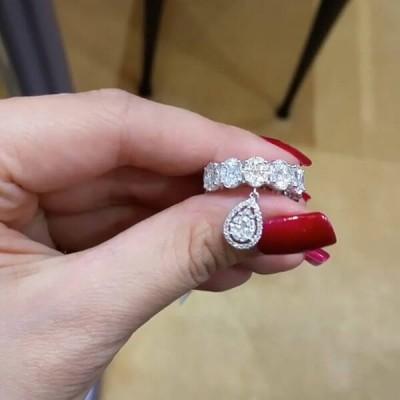 Ovale Schliff 925er Silber Sterling Zirkonia Einzigartig Hochzeitsband