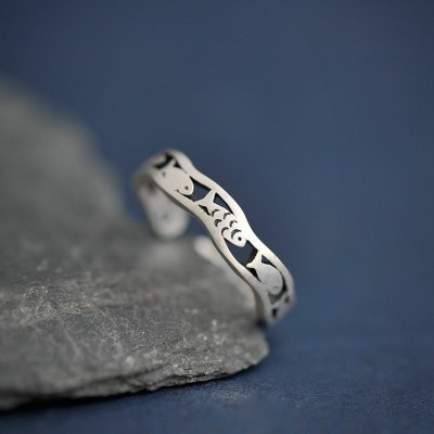 Einzigartiges Design Fisch einstellbar 925 Sterling Silber Versprechen Ringe für Sie