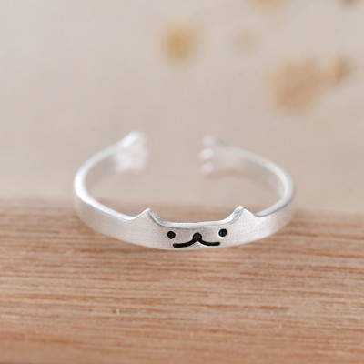 Süße Katze 925 Sterling Silber Versprechen Ringe für Sie