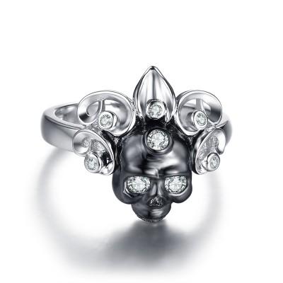 Klassischer runder Schnitt Weißeme Sterling Silber Totenkopf-Ringe