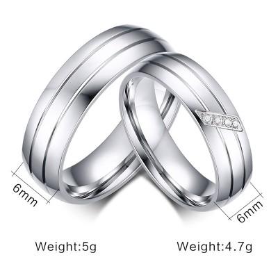 Elegantes Silber Titan Versprechen Paarringe