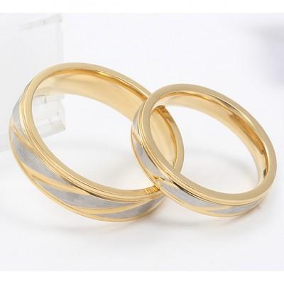 Gelbgold und Silber Titan Versprechen Paarringe