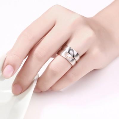 Elegantes Herz Design Titan Zirkonia Versprechen Paarringe