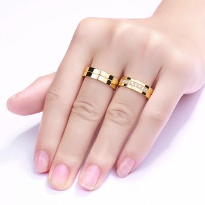 Gelbgold-Zirkonia mit RundSchliff Titan Versprechen Paarringe