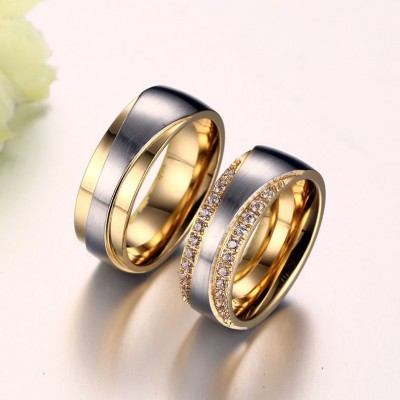 Gelbgold und Silber Zirkonia Titan Versprechen Paarringe
