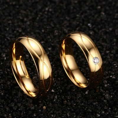 Gelbgold RundSchliff Titan Versprechen Paarringe