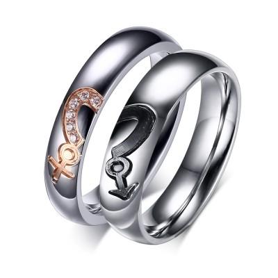 Silber-Titan-Zirkonia-Versprechen mit Paillinge