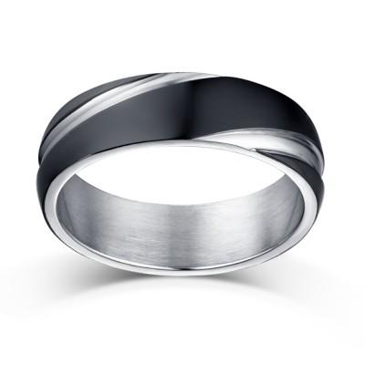Schwarz und Silber Titan Herrenring