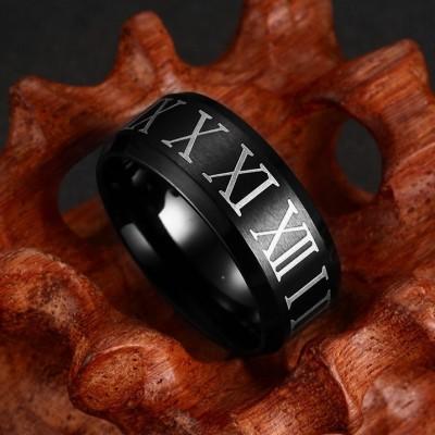 Römische Ziffern Schwarze Titan Herrenring