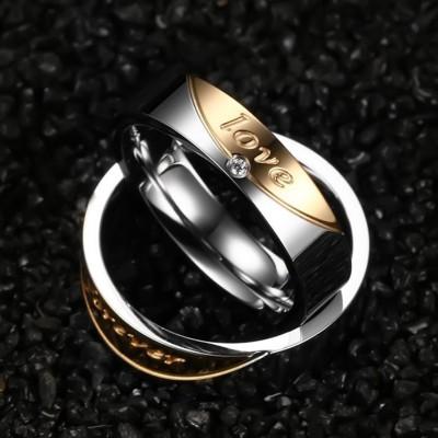 Forever Love Titan Silber Gelbgold Versprechen Paarringe
