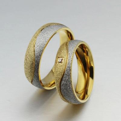 Runder Schliff Weißemer Saphir Titan Silber Gelbgold Versprechen Paarringe