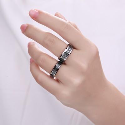 Titan Silber Schwarze Versprechen Paarringe