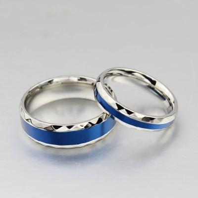 Titan Silber blau Versprechen Paarringe