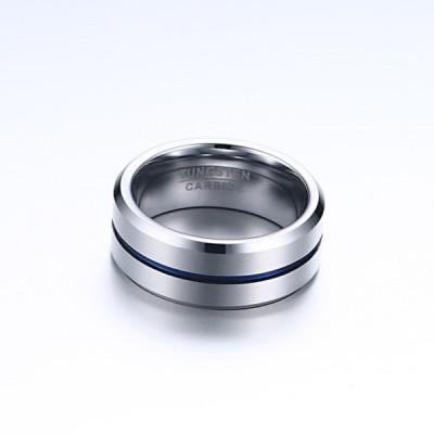 Tungsten Silber & blau Herrenring