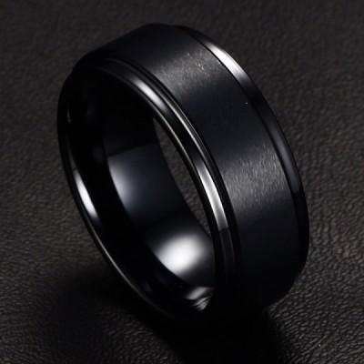 Tungsten Schlichte Cool Schwarze Herrenring