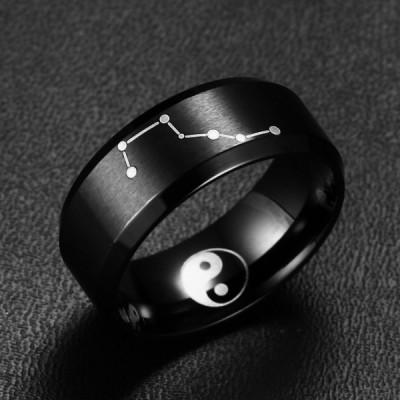 Titan Big Dipper Yin und Yang Schwarze Herrenring