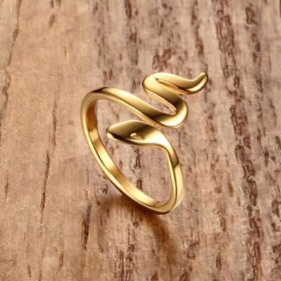 Titan Gelbgold Snake Versprechen Ringe For Her