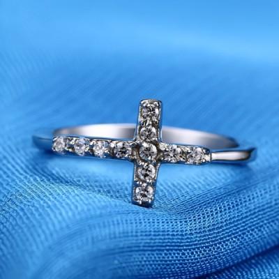 Titan Kreuze RundSchliff Weißemer Saphir Silber Versprechen Ringe Für Sie