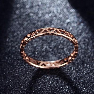 Titan ausgehöhltes Herz Roségold Versprechen Ringe für Sie