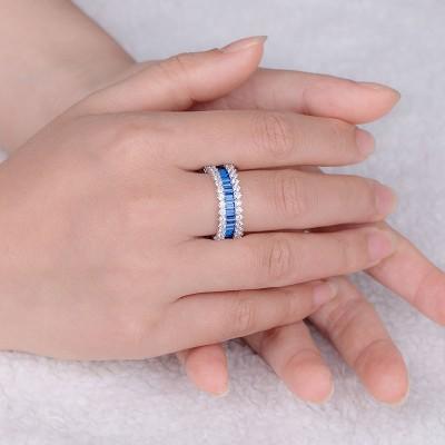 Emerald Schliff Blau Saphir 925 Sterling Silber Versprechen Band