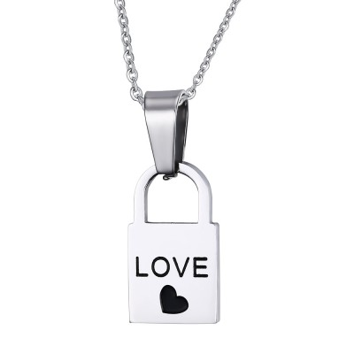 Love Design Lock and Key 925 Sterling Silber Halsschmuck