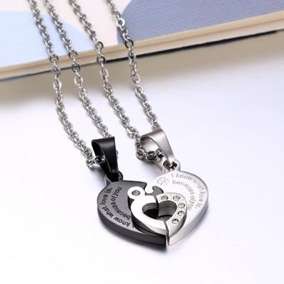 Herz Design Schwarz und Silber 925 Sterling Silber Halsschmuck