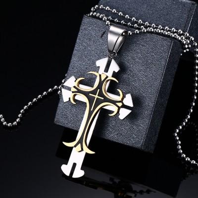 Cooles Gelbgold und Silber Kreuze 925 Sterling Silber Halsschmuck