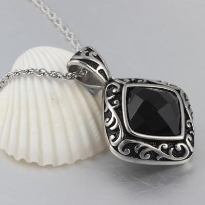 Nizza Schwarze Zirkonia 925 Sterling Silber Halsschmuck