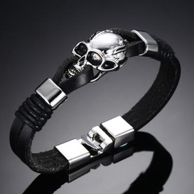 Schwarzer Lederschädel 925 Sterling Silber Armbänder