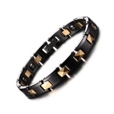 Schwarz und Gelbgold 925 Sterling Silber Chain Armbänder