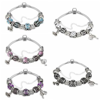 Rosa / Aquamarin / Weißem / Schwarz / Blau / Amethyst Silber Titan Armbänders