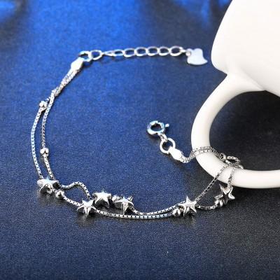 Schöne Sterne Anhänger S925 Sterling Silber Armbänders