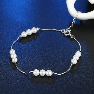 Elegante Perlen S925 Sterling Silber Armbänders