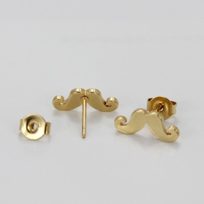 Moustache Design Gelbgold 925 Sterling Silber OhrRingee