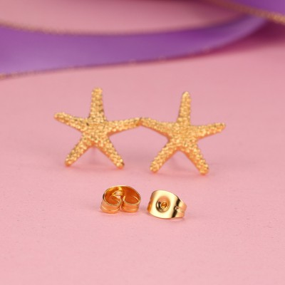 Starfish Design Gelbgold 925 Sterling Silber OhrRingee